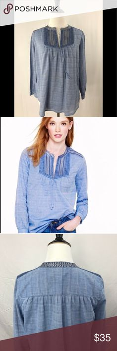 J.Crew Embroidered Peasant Top -Pre-loved, in excellent condition -99% cotton, 1% spandex J. Crew Tops