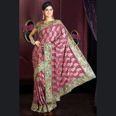Aloe vera green & pink embroidered saree