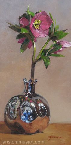 Reflections of Spring by Jan Stommes, Oil, 12 x 6 Painting Competition, Still Life Art, Online Painting, Christmas Bulbs, Glass Vase, Reflection, Holiday Decor, Spring, Artist