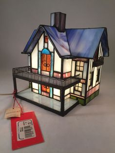 Stained Glass Tiffany Style Table Lamp Two Story House Night Light #Silvestri #StainedGlass