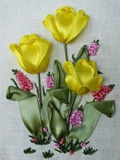 Wonderful Ribbon Embroidery Flowers by Hand Ideas. Enchanting Ribbon Embroidery Flowers by Hand Ideas. Ribbon Embroidery Tutorial, Embroidery Flowers Pattern, Learn Embroidery, Silk Ribbon Embroidery, Embroidery Stitches, Embroidery Patterns, Hand Embroidery, Embroidery Supplies, Embroidery Online