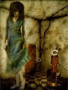 Alice in Wonderland Art by carter flynn John Tenniel, Adventures In Wonderland, Alice In Wonderland, Were All Mad Here, Metal Artwork, Through The Looking Glass, Dark Art, Altered Art, Watercolor Art