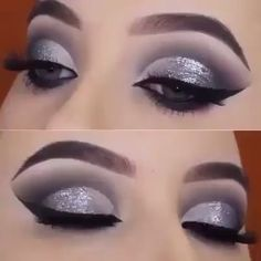 Silber Glitter Smokey Eye Makeup Tutorial - Wie bewerbe ich mich Black And Silver Smokey Eye Make-up? Tutorial zum Glitzeraugen-Make-up Silver Glitter Eye Makeup, Silver Smokey Eye, Silver Eyeshadow, Eyeshadow Makeup, Black And Silver Eye Makeup, Makeup Brushes, Sparkle Eye Makeup, Black Smokey Eye Makeup, Smoky Eye