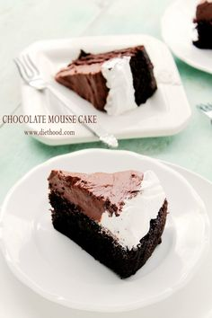 Chocolate Mousse Cake | www.diethood.com | Moist, scrumptious layer of Chocolate Cake topped with a delicious layer of Mousse and Whipped Vanilla Frosting. | #chocolate #chocolatecake #recipes