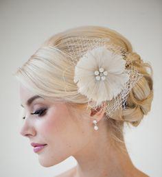 Feather Fascinator, Bridal Fascinator, Wedding Hair Flower, Bridal Headpiece - DANIELLE. $85.00, via Etsy.