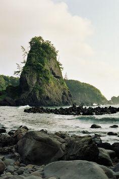 coast and rocks.