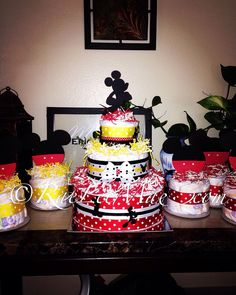 Mickey Mouse 3 tier Diaper Cake and 6 diaper cake minis, Mickey Mouse Baby Shower Gift, Mickey Mouse Theme Party, disney Diapercake