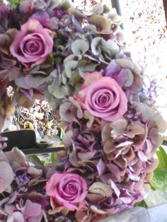 wreath hydrangea & roses
