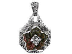Artisan Gem Collection Of Bali(Tm) 27mm Fancy Shape Carved Unakite Silver Flower Pendant