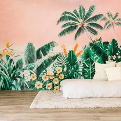 60 Best Ideas Of Tropical Wall Mural For Summer. Popular tropical wall murals create the illusion of paradise in your home. They can bring sunshine and warmth into a room with no windows or help stave. Tree Wallpaper Decor, Tree Wallpaper Green, Tropical Wallpaper, Bedroom Wallpaper, Tropical Bedrooms, Tropical Home Decor, Tropical Houses, Tropical Furniture, Ideas