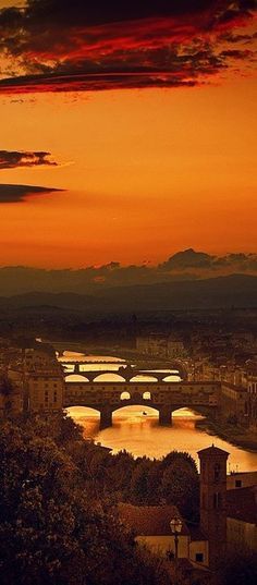 The Four Bridges of Florence, Italy At Sunset