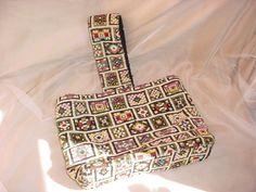 Vtg Needlepoint Tapestry Handbag Purse A Gilbert Original Bohemian 9 by 12 inch #Gilbert #Satchel