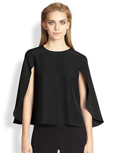 Inspiration - Cady Capelet Blouse by Saks Fifth Avenue Capelet, Perfect World, Saks Fifth Avenue, Work Wear, Tunic Tops, Couture, Blouse, T Shirt, How To Wear