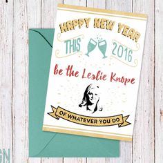 """New to DesignGenesStudio on Etsy: Printable new year card """"Be the Leslie Knope of whatever you do"""" parks and rec new years card funny new years card 5x7 instant download (5.00 USD) #greetingcards #mugs #gifts"""