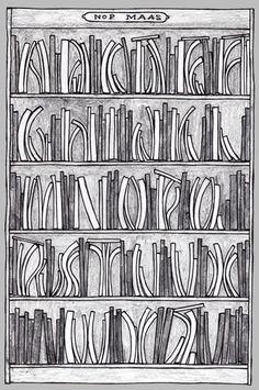 Bookcase alphabet, or alphabet -bookcase. Made for Nop Maas.