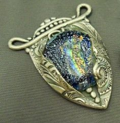 fused glass and metal clay pendant