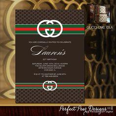 Printable Gucci Theme - Invitation Birthday Sweet Sixteen Retirement boys girls teen kids adults designer fashion 5x7 or 4x6 (DIY Digital)