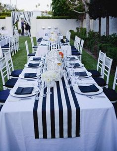 navy blue and white striped tablecloth table runner Cotton stripped wedding tablecloth nautical black and white beach wedding decor by FantasyFabricDesigns on Etsy Table Nautique, Palm Springs, Mantel Azul, Deco Marine, Wedding Tablecloths, Striped Table Runner, Wedding Decorations, Table Decorations, Wedding Centerpieces