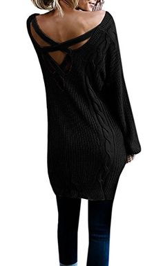 Chuanqi Womens V Neck Criss Cross Sweater Slouchy Oversized Cable Knit Sweater Dress XLarge Black >>> Find out more about the great product at the image link. #FallFashion