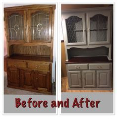 Image Result For Before And After Makeover Oak China Hutch