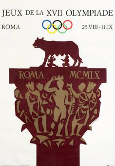 An official poster for the 1960 Rome Olympic Games, by Armando Testa. The design for this poster was fiercely contested with 212 artists submitting 249 designs. The winning artist Armando Testa was from Turin who produced a modern interpretation of the Belvedere Capital including the she-wolf suckling Romulus & Remus, whilst the capital itself portrays the crowning of a victorious athlete. Graham Budd Antiques.