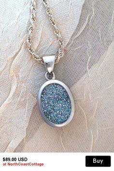 18e84f96fb84 Sparkly Druzy Quartz Pendant Necklace Large Sterling Silver Blue Green  Brazilian Drusy Piedras