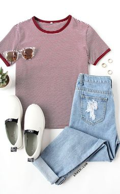 Multicolor Short Sleeve Crew Neck Striped T-shirt