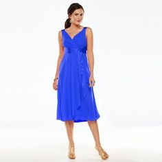 Chaps Surplice Chiffon Dress - Women's