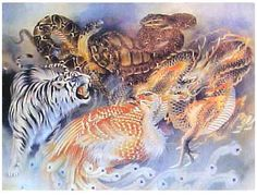 """""""The Four Symbols (四象: Sì Xiàng) are four mythological creatures in the Chinese constellations. They are the Azure Dragon, (Qing Long) of the East, the Vermilion Bird (Zhu Que) of the South, the White Tiger (Bai Hu) of the West, & the Black Turtle (Xuan Wu) of the North. Each one of them represents a direction & a season, & each has its own individual characteristics & origins. The Dragon represents Spring, the Bird represents Summer, the Tiger represents Autumn, & the Turtle represents…"""