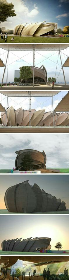 By using the overlapping leaf design, this hall has used nature to inspire an interesting building