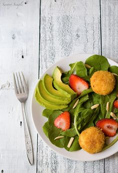 Crispy Goat Cheese Salad with Strawberries and Avocados ~ Savory Simple ~ www.savorysimple.net
