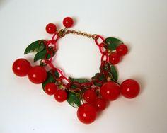 1940s Vintage Antique Bakelite Celluloid Cherries Bracelet