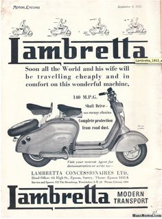 Vintage Lambretta LD Advertisement | Vintage Lambretta Ads ...