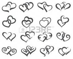 Monochrome collection of different icons of the hearts - Monochrome Collection Of Different Icons Of Hearts Royalty Free Cliparts, Vectors, And Stock Illust - Hart Tattoo, Mädchen Tattoo, Mom Tattoos, Body Art Tattoos, Small Tattoos, Tattoos For Women, Tatoos, Tattoo Crown, Rosary Tattoos