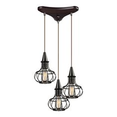 Buy the Elk Lighting Oil Rubbed Bronze Direct. Shop for the Elk Lighting Oil Rubbed Bronze Yardley 3 Light Wide Multi Light Pendant with Triangle Canopy and save. Bronze Pendant Light, Rustic Pendant Lighting, Multi Light Pendant, 3 Light Chandelier, Bronze Chandelier, Elk Lighting, Mini Pendant, Lighting Ideas, Industrial Chandelier