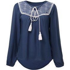 Women Long Sleeve O Neck Geometric Embroidery Pleated Bohemian T-Shirt ($15) ❤ liked on Polyvore featuring tops, t-shirts, shirts, navy, women tops t-shirts, embroidered t shirts, navy blue long sleeve shirt, long sleeve tees, navy blue t shirt and long sleeve t shirts