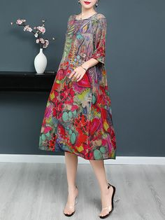 Plus Size Elegant Floral Sleeves Midi Shift Dress - gifthershoes Shift Dresses, Sexy Dresses, Short Sleeve Dresses, Dresses With Sleeves, Loose Dresses, Printed Dresses, Beautiful Dresses, Plus Size Party Dresses, Evening Dresses Plus Size