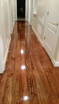 Heart Pine minwax provincial stain may match current floors or Minwax early American or mix both Hardwood Floor Repair, Installing Hardwood Floors, Refinishing Hardwood Floors, Floor Refinishing, Wood Floor Installation, Pine Wood Flooring, Stain On Pine, Floor Stain, Homes