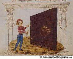 Ricc. 2669, FILIPPO CALANDRI, Trattato di aritmetica Sec. XV, fine; Firenze; bottega di Boccardino il vecchio.  Maestro conta i mattoni per un muro, c. 91v