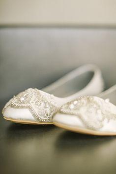 Beaded Ivory Bridal Wedding Flats   Photo: Alicia Pyne Photography   Shoes: Nestina Accessories