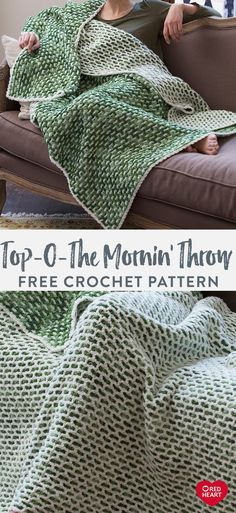 Top O the Mornin Throw free crochet pattern in Red Heart Super Saver yarn. You don't have to be Irish to appreciate this reversible crochet throw. The inventive stitch pattern may take a while to… Crochet Afghans, Crochet Throw Pattern, Afghan Crochet Patterns, Crochet Baby, Knit Crochet, Knitting Patterns, Knitted Throw Patterns, Modern Crochet Blanket, Crochet Crafts