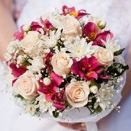MAYBE yours can be like this..(some lighter colors with some hot pink)  the bridesmaids all hot pink??