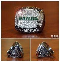 "Baylor football's 2014 Big 12 Championship ring. ""No pressure, no diamonds."" #SicEm #B2B"