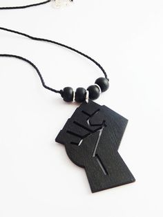 Black Fist Necklace Mens Jewelry Afrocentric by TheBlackerTheBerry