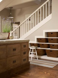 ...basement paint color  under stairs storage
