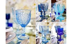 unique vintage blue wine glasses from Casa de Perrin - Photos by Junebug Weddings from Junebug Weddings Workshop at Vibiana