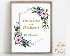 Wedding Cross Stitch Patterns, Modern Cross Stitch Patterns, Pattern Designs, Print Patterns, Alphabet And Numbers, Cross Stitching, Wedding Gifts, Etsy, Products
