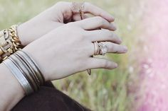 bracelets and rings.
