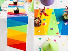 A great DIY tutorial for a rainbow felt table runner. Rainbow Birthday Party, Rainbow Theme, Rainbow Art, 1st Birthday Parties, Birthday Celebration, Felt Diy, Felt Crafts, Diy Crafts, Table Runner Tutorial