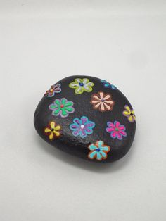 Painted Stone, Flowers Painted on Stone, Stone Paperweight, Millefleurs on Stone, Stone Painting on Etsy, $15.00